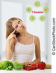 mulher bonita, vitaminas, saudável, legumes, jovem, alimentos, escolher, ricos