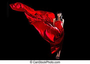 mulher bonita, voando, waving, vestido, vermelho