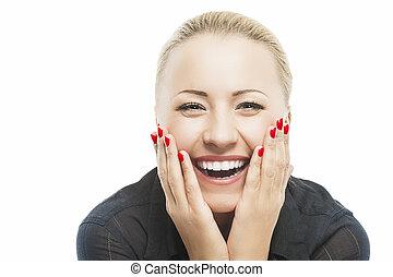 mulher bonita, wi, boca, retrato, sorrindo, abertos,...