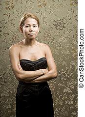 mulher, bonito, étnico