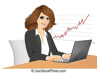 mulher, bonito, negócio, jovem, laptop