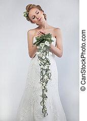 mulher, bonito, noiva, suave, loura, flores frescas, grupo