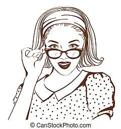 mulher, bonito, retro, rosto, óculos de sol
