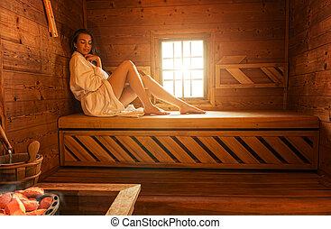 mulher, bonito, sauna