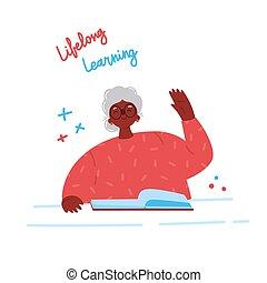 mulher, book., vetorial, velho, estudar