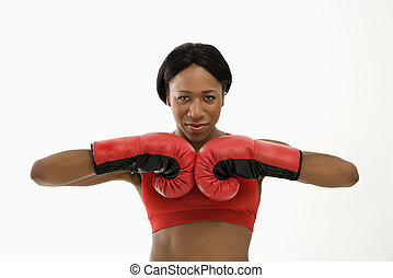 mulher, boxer.