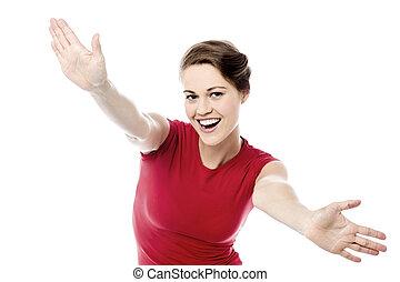 mulher, braços abertos, extático