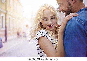 mulher, braços, dela, boyfriend's