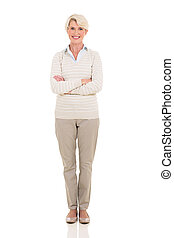 mulher, braços, meio, cruzado, retrato, envelhecido