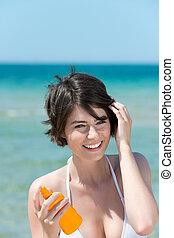 mulher, bronzeado, mar, loção
