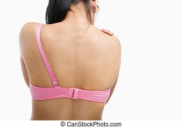 mulher, câncer, após, sofrimento, cirurgia peito
