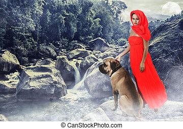 mulher, cão