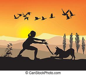 mulher, cão, natureza, jogado