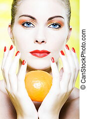 mulher, cítrico, tangerina, fruta, segurando, laranja, retrato