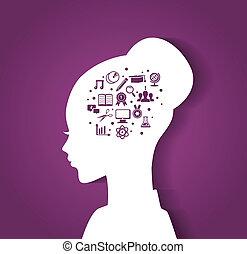 mulher, cabeça, com, educação, ícones