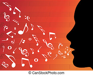 mulher, cabeça, silueta, com, notas música