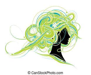 mulher, cabeça, silueta, penteado, desenho