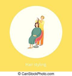 mulher, cabeleireiras, cartaz, sentando, cabelo nomeando