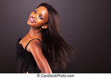 mulher, cabelo, americano, africano, longo