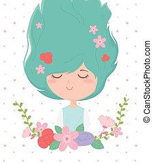mulher, cabelo, caricatura, quadro, decoração, flores, jovem