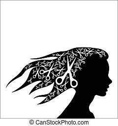 mulher, cabelo, com, tesouras