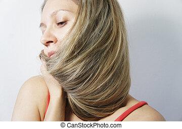 mulher, cabelo, jovem, loura, saudável, longo, bonito
