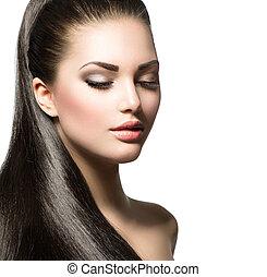 mulher, cabelo, marrom, liso, saudável, longo, bonito