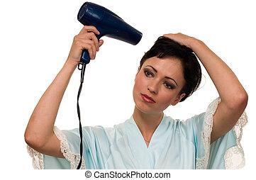 mulher, cabelo nomeando