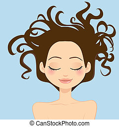 mulher, cabelo selvagem