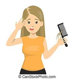 mulher, cabelo, sofrimento, calvo, loss., cabeça