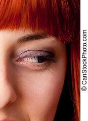 mulher, cabelo vermelho, bonito