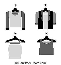 mulher, cabide, vector., roupas