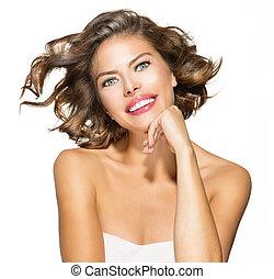 mulher, cacheados, beleza, sobre, jovem, cabelo, shortinho,...