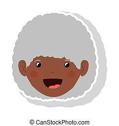 mulher, cacheados, idoso, rosto, cabelo, morena, frente