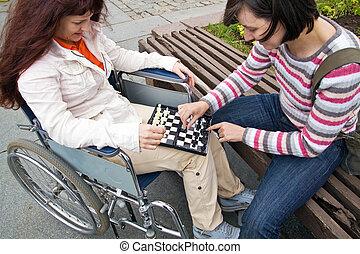 mulher, cadeira rodas