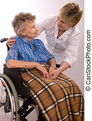 mulher, cadeira rodas, idoso