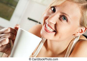 mulher, café bebendo