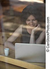 mulher,  café, jovem, trabalhando