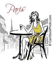 mulher, café, sentando