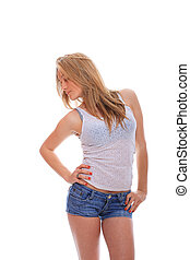 mulher, calças brim, jovem, shorts
