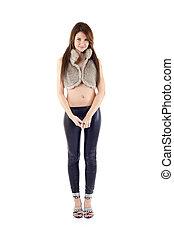 mulher, calças, couro