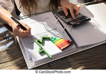 mulher, calculando, energia, eficiente, casa