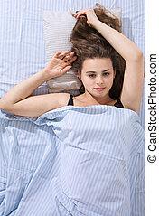 mulher, cama