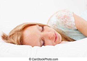 mulher, cama, dormir