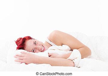 mulher, cama, feliz