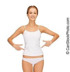 mulher, camisa, dela, barriga, em branco, apontar