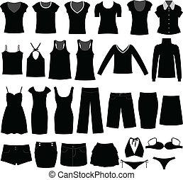 mulher, camisa, pano, desgaste, femininas, menina
