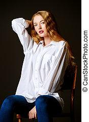 mulher, camisa, sensual