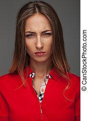 mulher, camisa, zangado, jovem, pólo, vermelho
