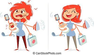 mulher, cansadas, alegre, housewife., mãe, multitasking